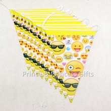 1 Set Emoji Face birthday Theme Party Paper flag banner Kids Boys Birthday Decorative Hanging Banner Party Bunting Flag Supplies