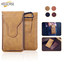 KISSCASE Leather Waist Bag Dual Layer Metal Clip Belt Phone Case For iPhone 7 7 Plus 6 6S Plus 5S SE 4S Card Holder Cover Pouch