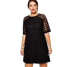 kiss milk Plus Size Checkered Pattern O Neck Sheer Mesh Shirt Dress Women Shift  Dress 07c5a705ee1d