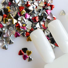 1000pcs/pack Mix 5 Colors Heart 3d Nail Art Glitter DIY Rivet Studs Beauty DIY Sticker Nail Decorations Valentine Decor NC218