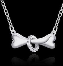 Fashion Silver Color Dog Bone Necklace Paw Pendant With Chain Doggie cute Puppy Pet 18 inch For Women Lovers Animal Jewelry Gift