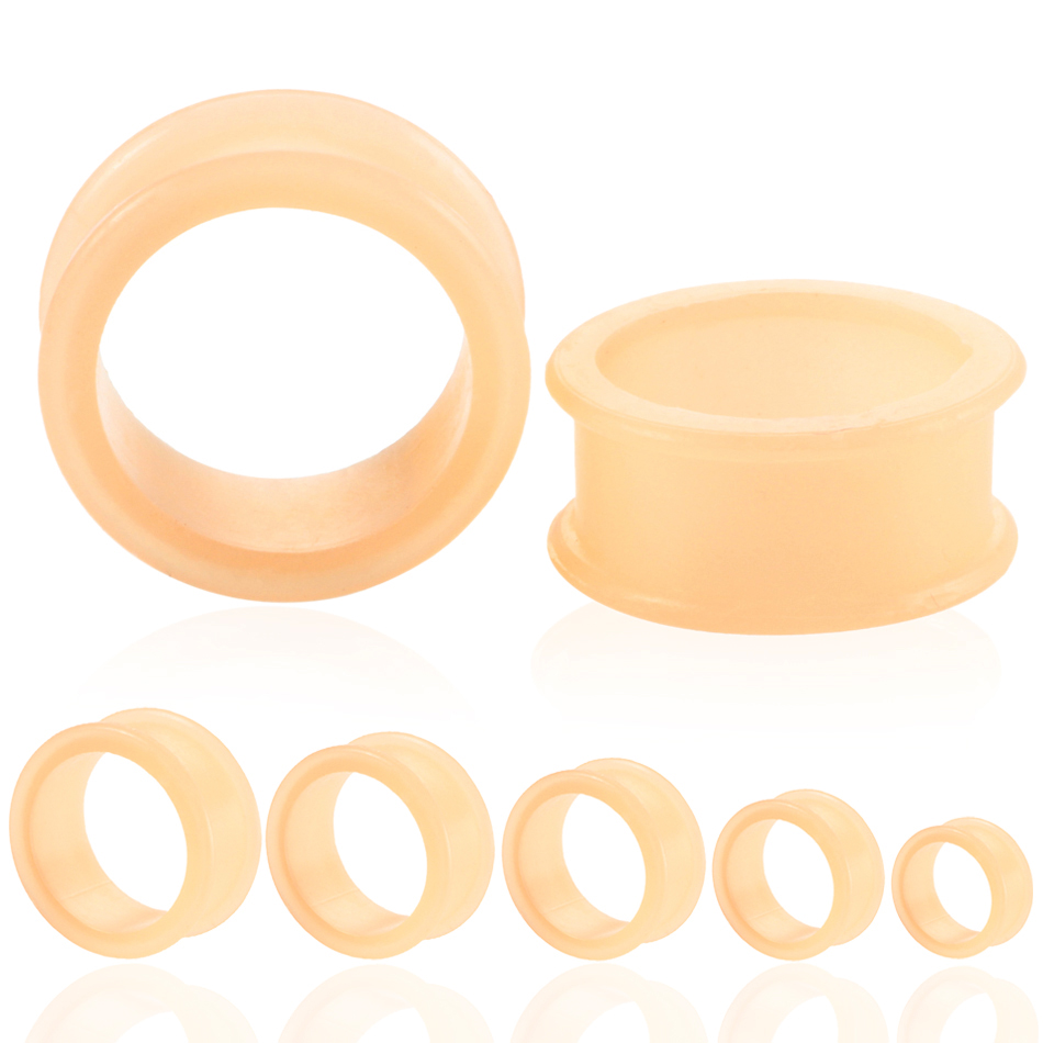 Pair of SKIN COLOUR Silicone Ear Plugs Stretchers Jewellery Piercing Tunnels Gauge PL146