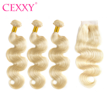 CEXXY Brazilian Body Wave Human Hair #613 Blonde Bundles with Closure 3pcs Virgin Hair Weft and 1pcs 4x4 Lace Closure(China)