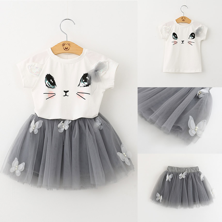 New 2pcs Toddler Kids Baby Girl Clothes Cat T-shirt Tops+Tutu Bow Dress Clothing Set infantil Vestidos 2017 New Bebe Clothing<br>