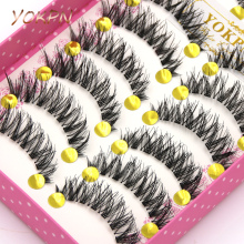 YOKPN Makeup False Eyelashes Eyelash 1 Box 10 Pairs Of False Eyelashes Naturally Thick Stage Cross False Eyelashes  Smoky Makeup