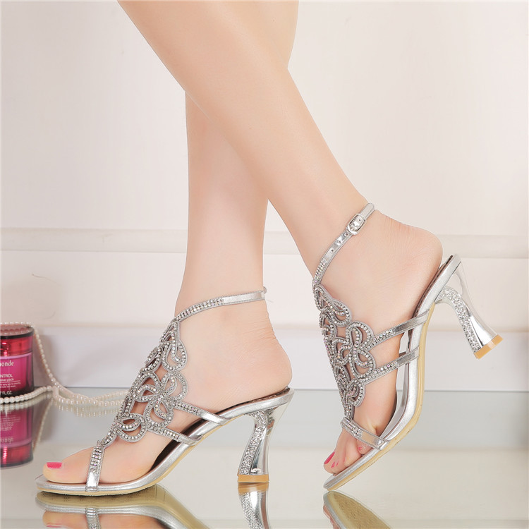 New Casual Wedding Silver Open Toe High Heel Shoes Diamond Female Womens Summer Sandals Size 11 Good Quality6