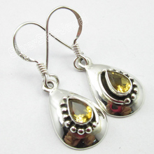 ETHNIC Jewellery !  Pure Silver Citrines TRADITIONAL Earrings 1 1/4 inches NEW