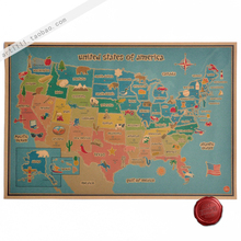 Nostalgic Vintage old Paper Poster Retro Wall Sticker Antique Home Decoration Cartoon American products map