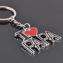 Buy LOVE PAPA Father Men Keychain Dad Father's Day Gifts Silver Heart Love Letter Key Chain Pendant Circle Car Keychain Women for $1.01 in AliExpress store