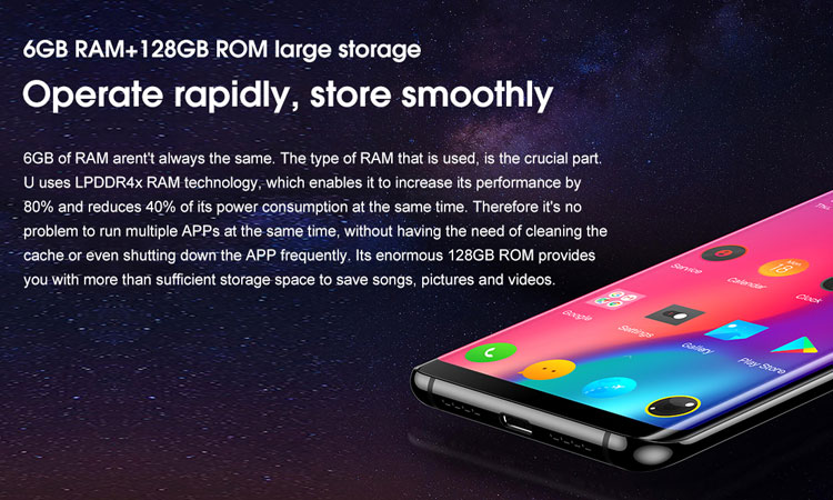 ELEPHONE U 6GB RAM 128GB ROM Helio P23 MTK6763 2.0GHz Octa Core 5.99 Inch Corning Gorilla Glass 5 AMOLED 3D Curved FHD+ Screen Dual Camera Android 7.1 4G LTE Smartphone