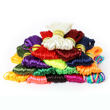 20meter Soft Satin Rattail Silk Macrame Cord Nylon Kumihimo Shamballa For DIY Chinese Knot Bracelet Necklace Jewelry Finding 2mm(China)