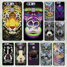Animal Wolf Tiger lion cat animal face design hard black Case Cover for Huawei P8 P9 lite P9 Plus P7 Mate9 Mate8 Mate S