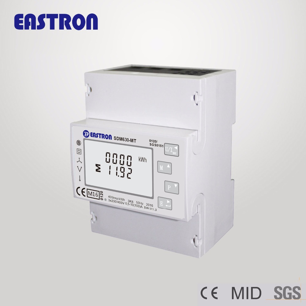 SDM630-MT, Multi tariffs , multifunction, Three Phase Four Wire Din Rail Energy Meter, RS485 Modbus RTU and Pulse Output(China (Mainland))