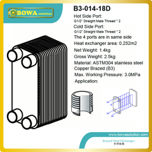 2.5KW (Water to Water) Copper Brazed Stainless Steel plate Heat Exchanger for for heating, cooling, heat recovery, evaporation(China)