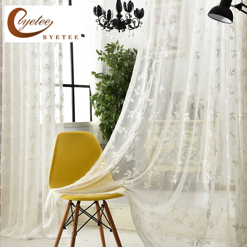 [byetee] White Embroidered Gauze Voile Kitchen Sheer Organza Curtains Doors For Bedroom Study Curtain Living Room Tulle Drapes