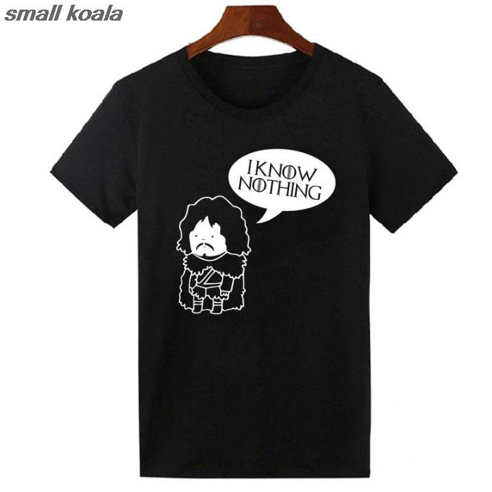JON SNOW GAME OF THRONES Inspired T Shirt Tee Top Shirts Mens Funny KNOW NOTHING T-shirt Homme Hip Hop Hipster Harajuku Tshirt