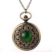 Cindiry Bronze hollow imitation jade stone necklace pendants decorated Dan Yinghuai table presents Chian Men Women Pocket Watch