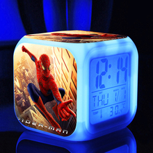 Spiderman toys Digital LED 7  Changed Colorful light Thermometer ,Night Electronic kids spider man toy