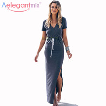 New Summer Dress Women 2016 Beach Casual Dresses Women Fashion Solid V Neck Short Sleeve Long Maxi Dress Sashes Vestidos