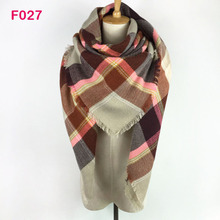 Hot!!! More Than 156 Colors Za Fashion new Design Spring Autumn Winter Women Plaid Wrap StoleS Blanket Scarf Shawl Poncho Pink(China)