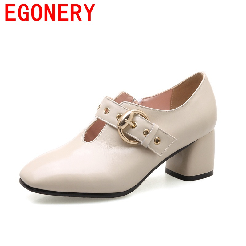 EGONERY square toe mature The hollow out wedding fashion buckle genuine leather convenient adjustable elegant women shoes<br>