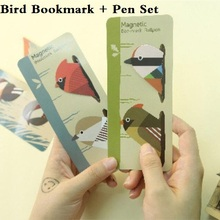 1pcs/lot New Cute Birds design Mini Magnetic Bookmark set With mini pen office school stationery supplies retail