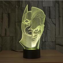 Superhero Two-Faced Joker Batman Version Figure Lamp 3D Color Changing Night Light Illusion Newest Table Bedroom Home Decor Gift