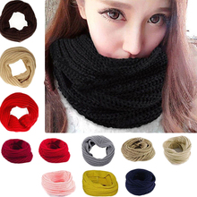 Fashion Unisex Winter Warm Infinity Circle Cable Knit Cowl Neck Long Scarf Shawl