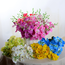 Artificial Orchid Silk Flowers Bouquet Phalaenopsis Fake Moth Butterfly Orchid Flower Home Wedding Living Room Decoration