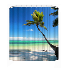3D Print Shower Curtains Coconut Tree Polyester Waterproof Bathroom Shower Curtain Home Decor Bathing Curtain(China)