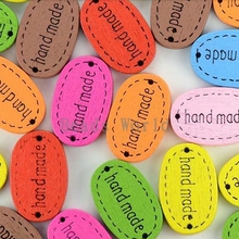 100 Pcs Random Mixed Hand Made Brand 2 Holes Sewing Wood Buttons Scrapbooking 18x12mm Knopf Bouton(China)