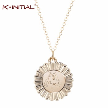 1Pcs New Gold Silver Bijoux Statement Necklace Horse Show Ribbon Pendants Necklaces Women Horse Lover Gifts Jewelry Collares
