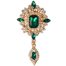 MZC Cheap Green Crystal Water Drop Brooch Luxury Broach Women Hijab Pins Cheap Cristal Costume Jewelry X1631(China)