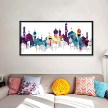 Arabic Islam Calligraphy Almighty Allah Mosque Pictures Muslim Canvas Painting Poster ,Turquoise Floral Print Islamic Decoration(China)