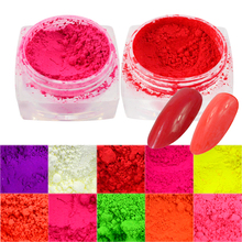 1 box New Neon Glimmer Fluorescence Effect Nail Glitter 3D Bright Pigment Nail Art Decorations Polish Manicure Tips CHYE01-13(China)