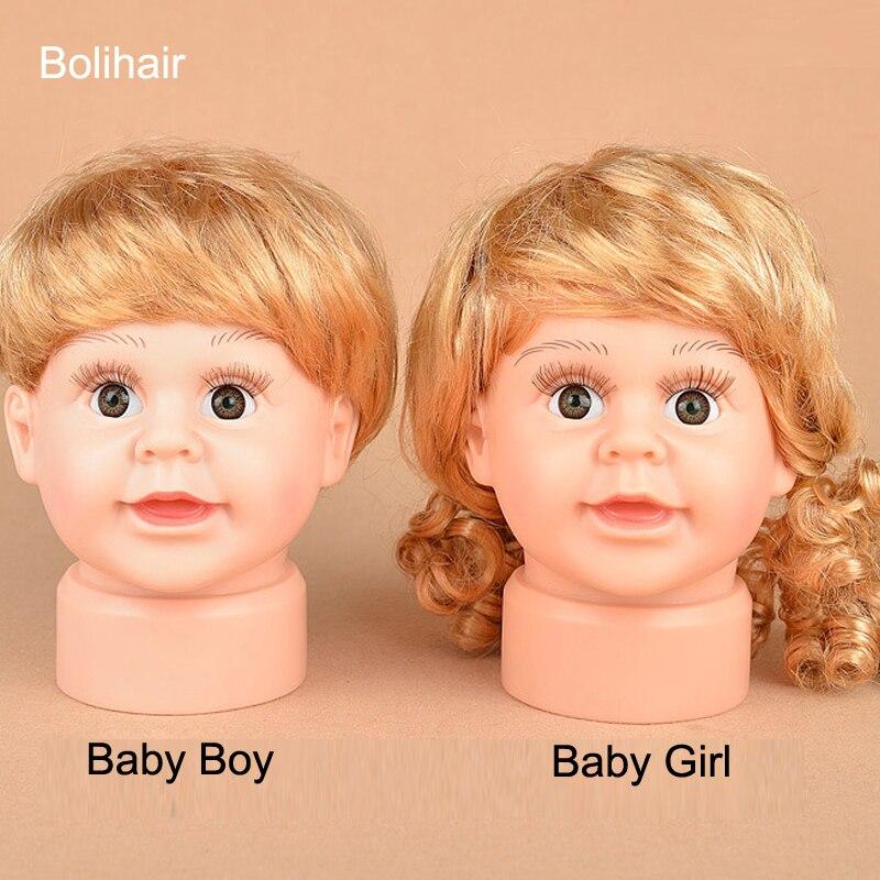Children Mannequin Baby Dolls Head With Wig Shop Window Dolls Head For Cap Glasses Display (3)