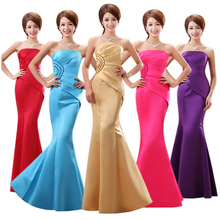 modest purple black strapless sexy champagne gold bridesmaid dresses satin elegant formal dress red long women cheap B3116