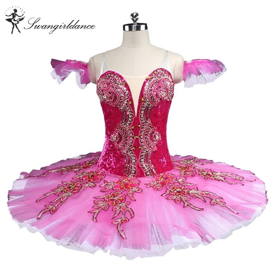latest rose red esmeralda ballet tutu girls ballerina nutracker professional pancake ballet stage costumes BT9133