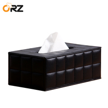 ORZ Tissue Box Holder PU Leather Rectangular Napkin Paper Holder Tray Home Decoration Office Car Toilet Paper Case Tissue Box(China)