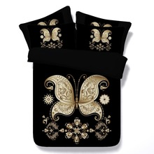 6PCS PER SET Luxury Black and Gold Butterfly and engraved designs Hd 3d digital bed linen set