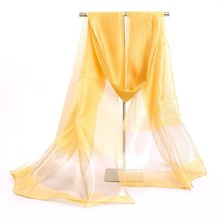 Hot Sale Classic Silk Scarves Yellow Ladies' Chiffon Scarf Chinese Style Shawl Mujeres Bufanda Chal Size 70 x 190cm  SW36-L