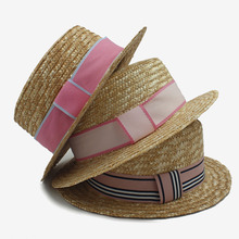2017 3 pink ribbonp Round Flat Top Straw hat for Kids the girl's summer beach hat Vacation Travel Outdoor