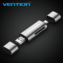 Vention Mini SD OTG card reader USB 2.0 Micro USB 2.0 2 in 1 to Type C Memory Card reader Micro SD TF Card Reader For MacBook PC(China)