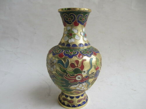 5.71 inch//collect Chinese cloisonne carved dragons and phoenixes vase