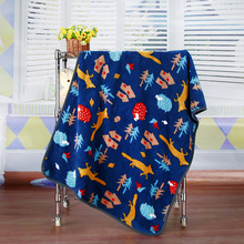 100X75cm Blue Gray Cartoon Flannel Baby Kid Soft  Bed Blanket Cover for Sofa/ Travel/ Car Plaids