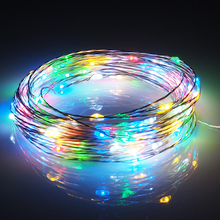 10m LED Strip Light Battery Powered RGB Copper Silver Wire Holiday String Lighting Fairy Christmas Trees Party Home Lighting(China)