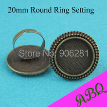 50 Pieces 20mm Vintage Brass Ring Setting, Victorian Bead Edged Ring Tray, Adjustable Bezel Ring Setting for 20mm Cabochon