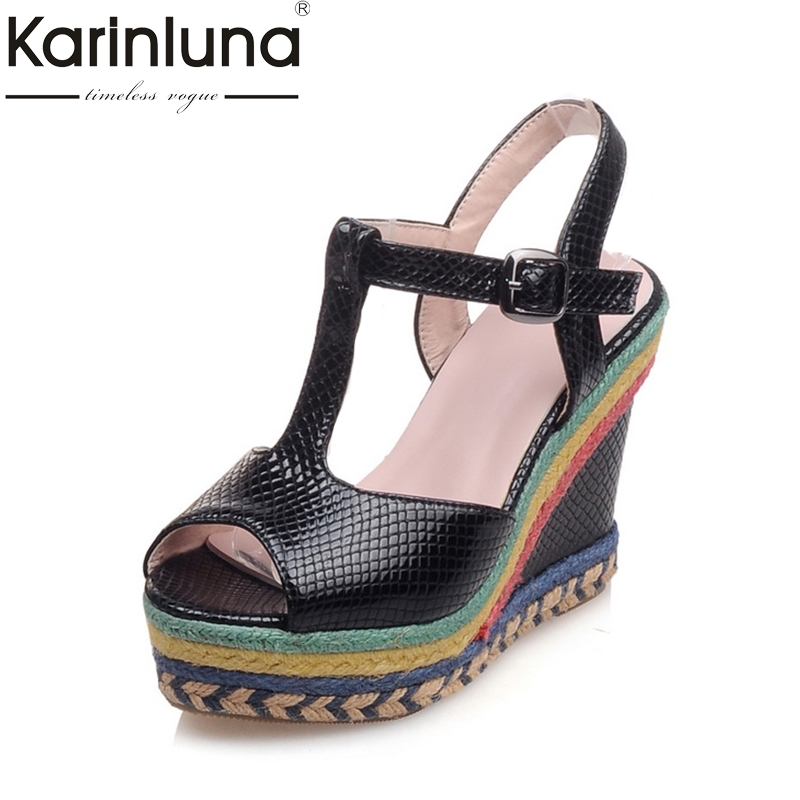 KarinLuna Big Size 32-43 Manual t-strap Women Shoes Bohemia Style Wedges High Heels Wholesale Summer Sandals Party Shoes Woman<br>