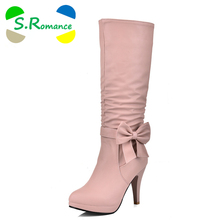 S.Romance Plus Size 34-43 Women Boots Spike Heels Round Toe Knee Boots Woman Shoes Female Boots Black White Pink Blue SB255(China)