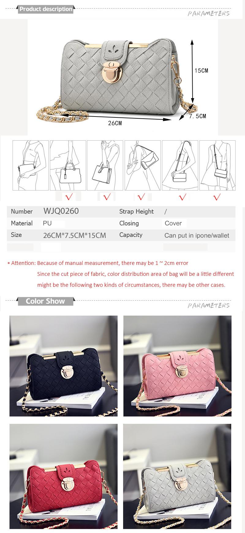 2017 New Fashion Bag Casual Women's Shoulder Bag Female Messenger Bag Ladies Brand Leather Chains Soft Polyester Crossbody Bag (1)